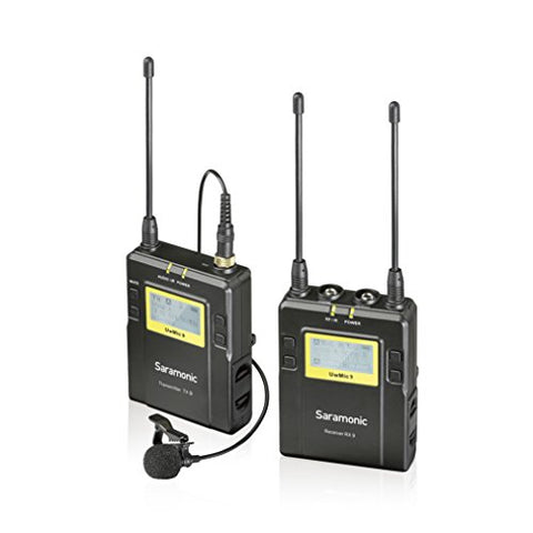 Saramonic UWMIC9 96-Channel Digital UHF Wireless Lavalier Microphone System (UWMIC9) with Bodypack Transmitter, Portable Receiver, Lav Mic, Shoe Mount, XLR/3.5mm Outputs (RX9+TX9)