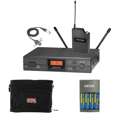 Audio-Technica ATW2129b Wireless Lavalier Microphone System w/ Case & Batteries