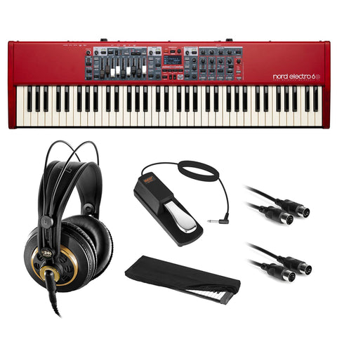 Nord Electro 6D 73-Note Stage Piano Semi-Weighted Waterfall Keyboard with AKG K 240 Pro Headphones, Sustain Pedal, Dust Cover & 2x MIDI Cable Bundle