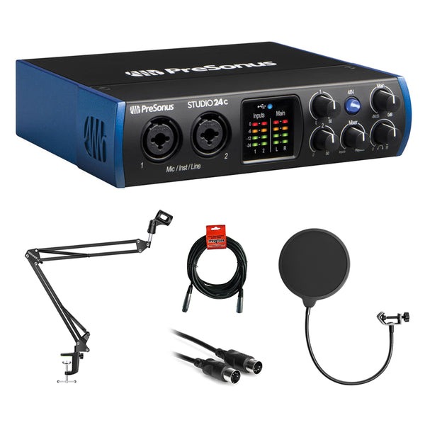 PreSonus Studio 24c 2x2 USB Type-C Audio/MIDI Interface with Kellopy Pop Filter, Mic Boom Scissor Arm Stand, 6ft MIDI Cable & XLR Cable Bundle