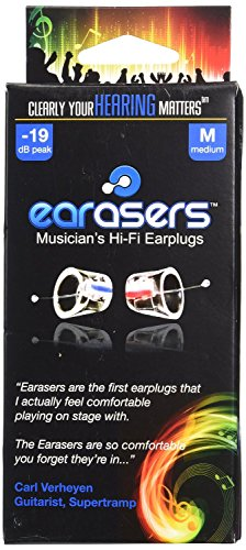 Earasers Musicians Plugs Medium with Waterproof Stash Can Case( Assorted Colors, Red or Blue)
