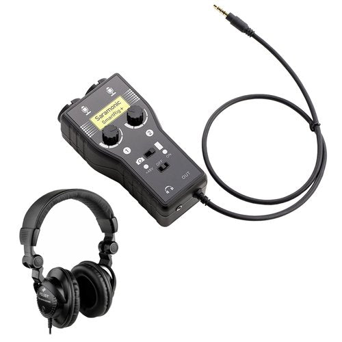 Saramonic SmartRig+ 2-Channel XLR Microphone Audio Mixer with HPC-A30 Closed-Back Studio Monitor Headphones