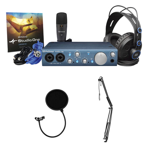 PreSonus AudioBox iTwo Studio Complete Mobile Recording Kit with Kellopy Pop Filter & Webcast Boom Arm