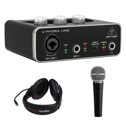 Behringer U-PHORIA UM2 2x2 USB Audio Interface with Vocal Microphone & Stereo Headphones Bundle