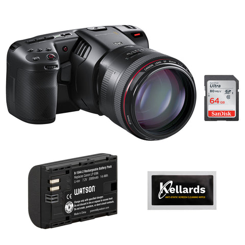 Blackmagic Design Pocket Cinema Camera 6K (EF Mount) with LP-E6N Li-Ion Battery Pack, 64GB Memory Card & 5pck Cleaning Wipes Bundle