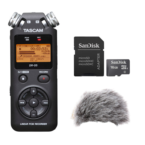 Tascam DR-05 Portable Handheld Digital Audio Recorder with WRW-H4DR Windbuster, Tascam PS-P520E AC Power Adapter & 16GB Memory Card Kit
