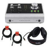 Audient iD14 High Performance USB Audio Interface with R100 Stereo Headphones & XLR-XLR Cable Bundle