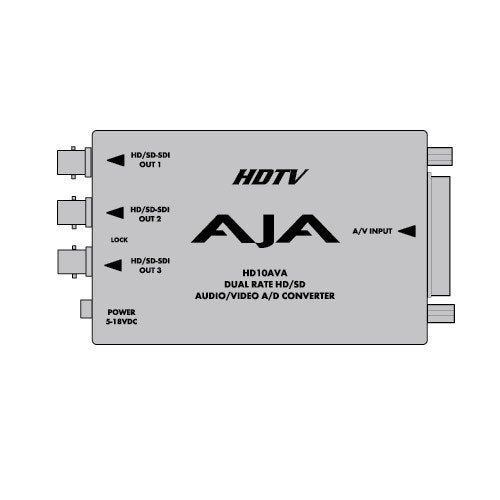 AJA HD10AVA SD/HD Analog Composite or Component Video & 4-Channel Analog Audio to SD/HD-SDI with Embedded Audio