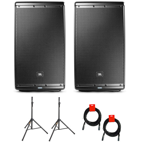 "JBL EON615 Two-Way 15"" 1000W Powered PA Speaker, Bluetooth (Pair) Bundle with 2x Speaker Stand & 2x XLR Cable"