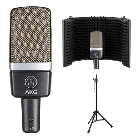 AKG C214 Pro Condenser Microphone Bundle with Reflection Filter & Tripod Mic Stand