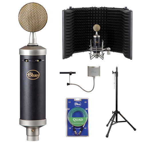 Blue Baby Bottle SL Studio Condenser Microphone with RF-5P-B Reflection Filter, Quad Cable & Blue The Pop Windscreen Bundle