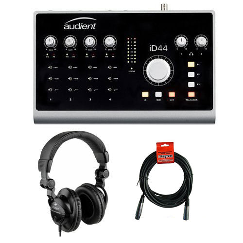 Audient iD44 -20-Input/24-Output High-Performance AD/DA Interface & Monitoring System with HPC-A30 Studio Monitor Headphones and XLR-XLR Cable