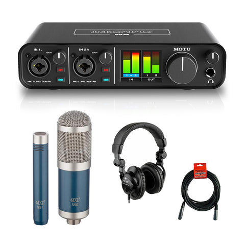 Motu M2 2x2 USB Audio Interface with MXL 550/551R Microphone (Blue), HPC-A30 Studio Monitor Headphones & XLR Cable Bundle
