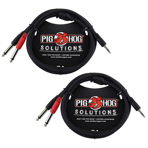 "Pig Hog PB-S3410 3.5 mm Stereo to Dual 1/4"" Mono (Male) Stereo Breakout Cable, 10 Feet (2-Pack)"