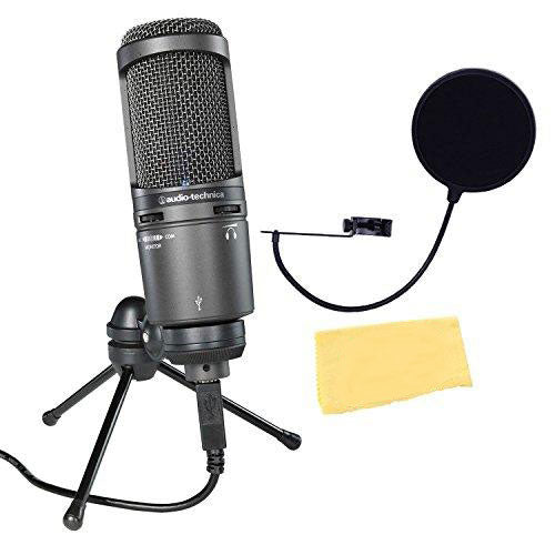 Audio-Technica Cardioid Condenser USB Microphone Bundle with Pop Filter