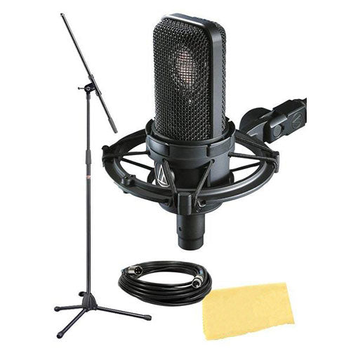 Audio-Technica AT Side Address Cardioid Condenser Microphone Bundle w/ Mic Stand