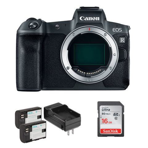 Canon EOS R Mirrorless Digital Camera (Body Only) with LP-E6 Lithium-Ion Battery Pack Kit & 16GB SDHC Memory Card Bundle