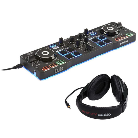 Hercules DJControl Starlight with LED Light & Resident Audio R100 Stereo Headphones Bundle