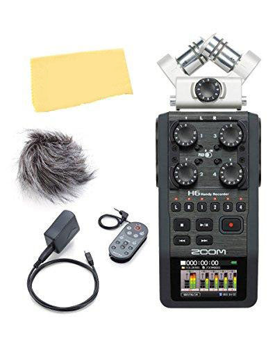 Zoom H6 Handy Recorder Bundle with APH-6 Accessory Pack, Polishing Cloth