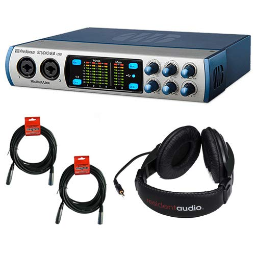 PreSonus Studio 68 -6x6 192 kHz, USB 2.0 Audio/MIDI Interface with R100 Stereo Headphones and (2) 20' XLR Cable