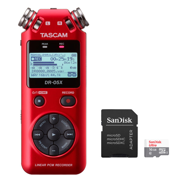 Tascam DR-05X RED Stereo Handheld Digital Recorder and USB Audio Interface with 16GB MicroSD Memory Card Bundle