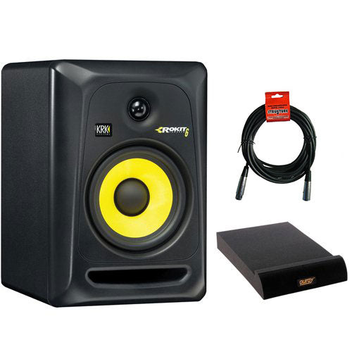 "KRK ROKIT 6 G3 - 73W 6"" Two-Way Active Studio Monitor (Single, Black) with IP-M Isolation Pad for Studio Monitor (Medium, Single) and XLR Cable"