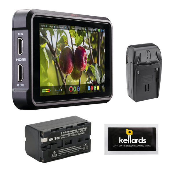 "Atomos Ninja V 5"" 4K HDMI Recording Monitor with NP-F770 Lithium-Ion Battery Pack, Compact AC/DC Charger & Screen Cleaning Wipes"