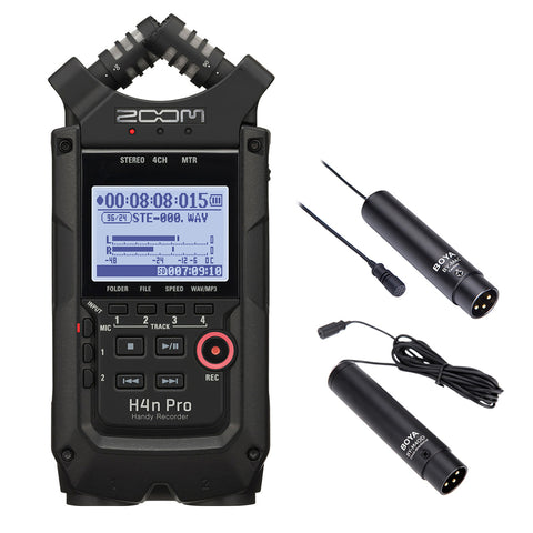 Zoom H4n Pro All Black 4-Track Portable Recorder (2020 Model) with Omnidirectional & Cardioid XLR Lavalier Mic Bundle