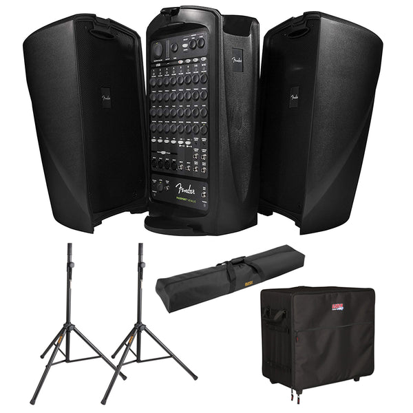 Fender Passport VENUE Self-Contained Portable Audio System with Gator Case G-PA TRANSPORT-LG PA Case, (2) Speaker Stand & Stand Bag Bundle
