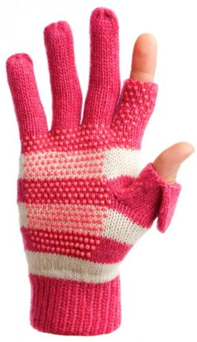 Freehands Women's Stripe Wool Knit Gloves Pink Medium