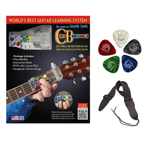 ChordBuddy Learning System with Planet Waves Classic Pearl 10-Pack Guitar Pick & Guitar Strap Bundle