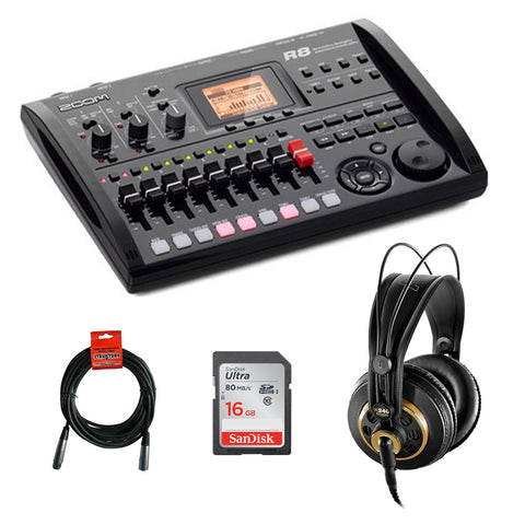 Zoom R8 Multitrack SD Recorder Controller and Interface with AKG K 240 Pro Stereo Headphone, 16GB UHS-I SDHC Memory Card & XLR Cable Bundle
