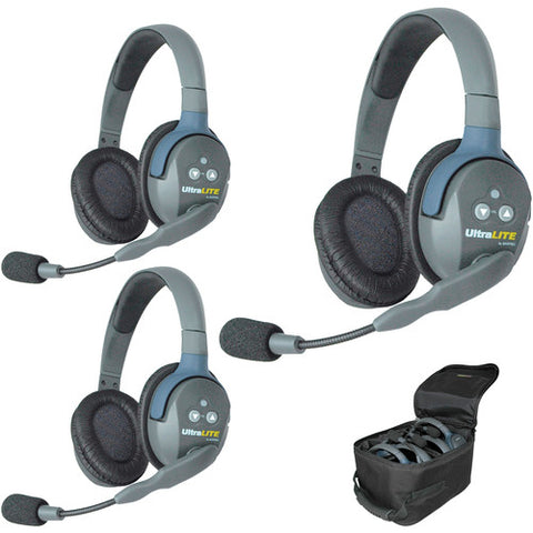 Eartec UltraLITE 3-Person Headset System with Batteries, Charger & Case (Dual-Eared)