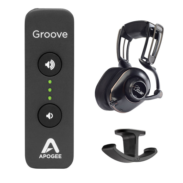 Apogee Electronics Groove USB DAC and Headphone Amplifier with Blue Mix-Fi Powered Headphones & Headphone Hanger Mount Bundle