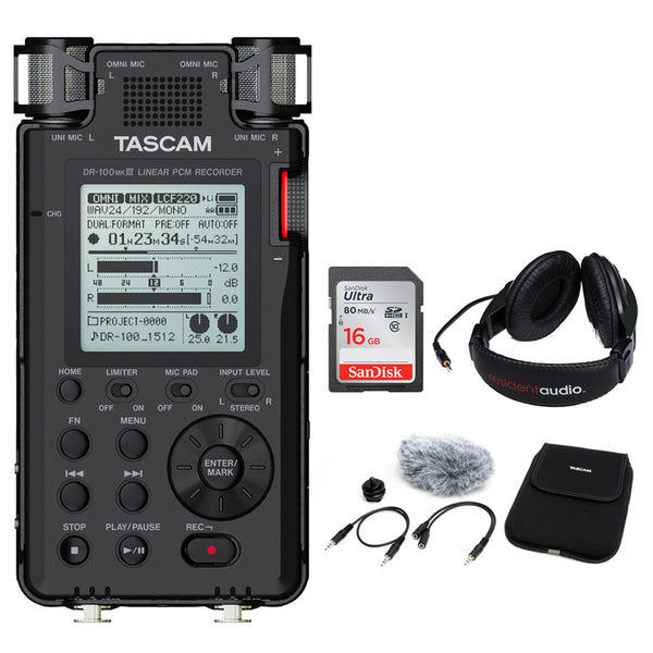 Tascam DR-100mkII - Portable 2-Channel Linear PCM Recorder Kit