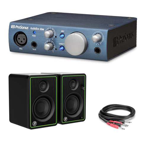 "PreSonus AudioBox iOne USB 2.0 Interface Bundle with Mackie CR3-X 3"" Monitors (Pair) & Phone Audio Cable"
