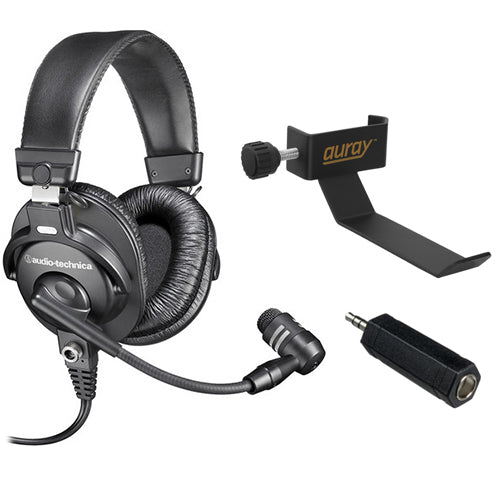 "Audio-Technica BPHS1 Broadcast Stereo Headset with COHH-2 Clamp On Headphone Holder and 1/4"" TS Female to 3.5mm TRS Male Adapter"