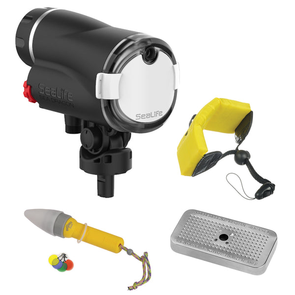 SeaLife Sea Dragon Digital Underwater Flash Head with Floating Wrist Strap, Nano Spotter & Silica Gel Metal Case Bundle