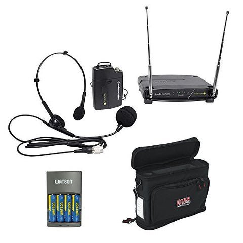Audio-Technica ATW-901A/H System 9 VHF Wireless Unipak System with PRO 8HEcW Headworn Microphone, GM-1W Mobile Pack & 4-Hour Rapid Charger Kit