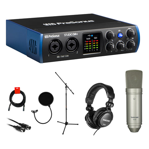 PreSonus Studio 24c Desktop USB Audio Interface Bundle with Tascam TM-80 Mic, Headphone, Pop Filter, Stand, MIDI & XLR Cable