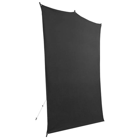 Savage 5x7' Black Background Backdrop Travel Kit, with Aluminum Stand & Carry Bag
