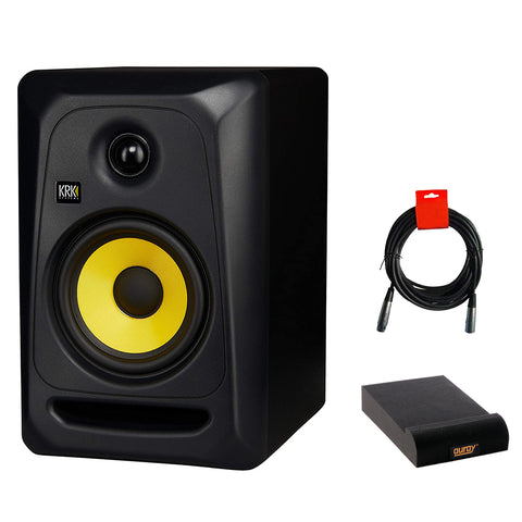 KRK Classic 5 Near-Field 2-Way Studio Monitor (Black) Bundle with Isolation Pad & XLR Cable