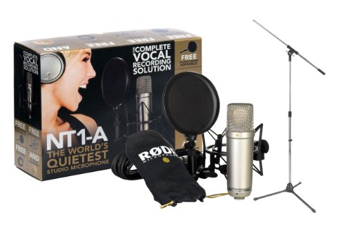 Rode NT1-A Cardioid Condenser Mic Recording Package & Tripod Base Mic FloorStand