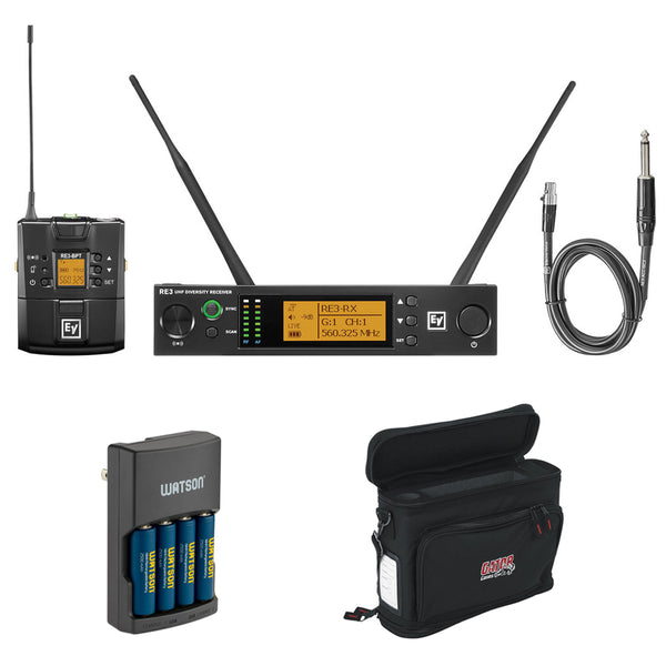 Electro-Voice RE3-BPGC Bodypack Instrument Wireless System (5H: 560 to 596 MHz) with GM-1W Mobile Pack, Rapid Charger & 4 AA NiMH Batteries Bundle
