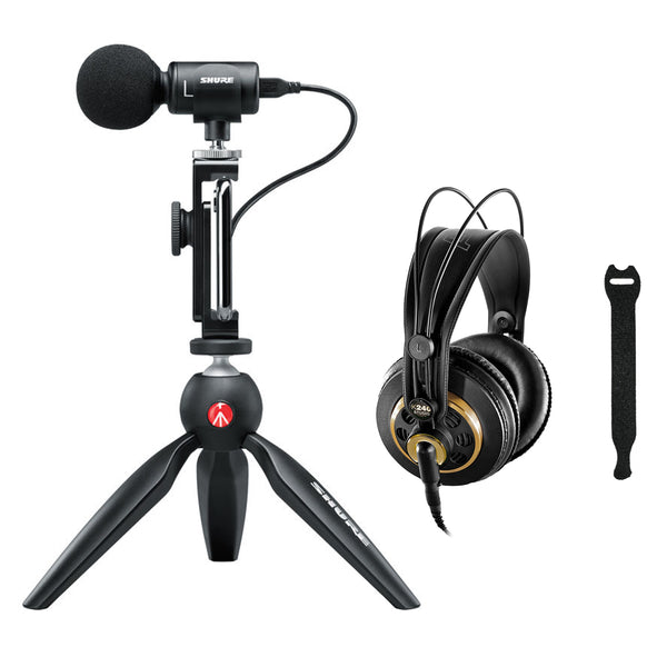 Shure MOTIV MV88+ Video Kit Digital Stereo Microphone with AKG K 240 Studio Pro Microphone & 10-Pack Straps Bundle