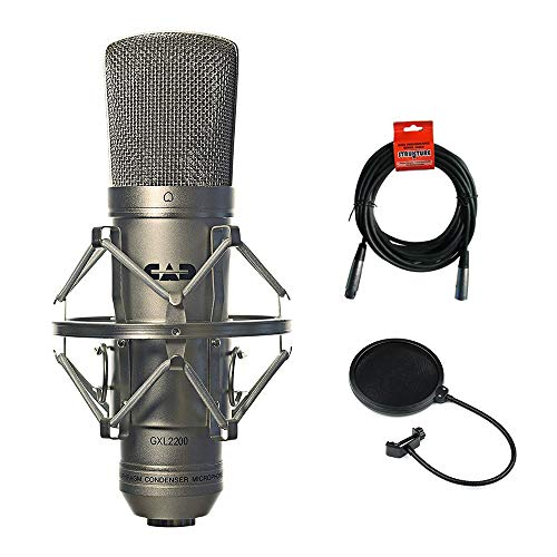 CAD GXL2200 Cardioid Condenser Microphone (Silver) with 20' XLR-XLR Cable & Pop Filter Bundle