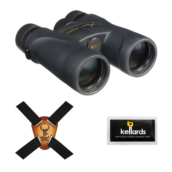 Nikon 8x42 Monarch 5 Binocular (Black) with Crooked Horn Binocular Harness & Screen Cleaning Wipes 5-Pack Bundle