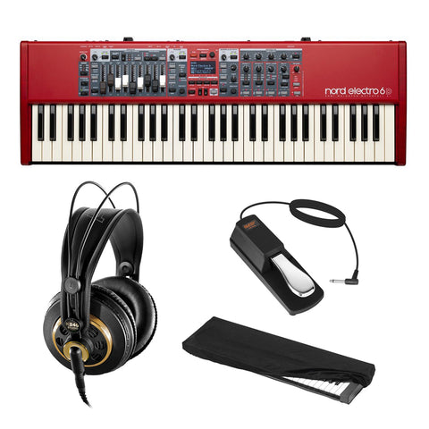 Nord Electro 6D 61-Note Stage Piano Semi-Weighted Waterfall Keyboard with AKG K 240 Pro Headphones, Sustain Pedal & Dust Cover Bundle