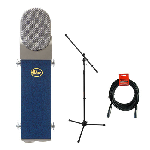 Blue Blueberry Cardioid Studio Condenser Large Diaphragm Microphone with Tripod Microphone Stand & 20' XLR-XLR Cable Kit