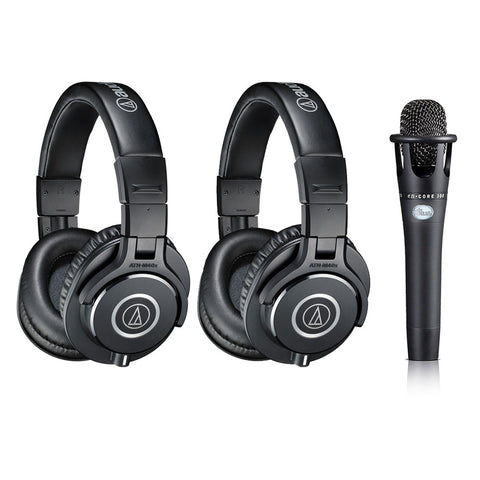 Audio-Technica ATH-M40x Monitor Headphones, Black (2-Pieces) with Blue enCORE 300 Microphone Bundle